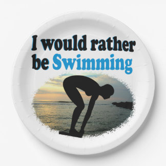 BEAUTIFUL I WOULD RATHER BE SWIMMING GIRL DESIGN 9 INCH PAPER PLATE