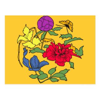 Beautiful Japanese Flower Art Post Cards