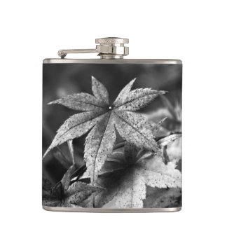 Beautiful Japanese Maple Leaf Portrait in B/W Hip Flask