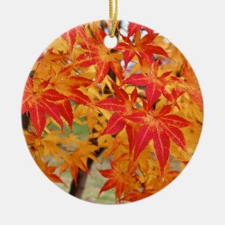 beautiful japanese maple tree in fall round ceramic decoration