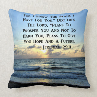 BEAUTIFUL JEREMIAH 29:11 SCRIPTURE VERSE CUSHION