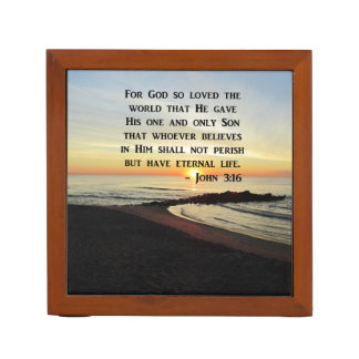 BEAUTIFUL JOHN 3:16 SCRIPTURE SUNRISE PHOTO DESK ORGANISER