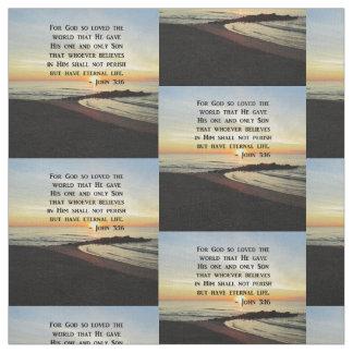 BEAUTIFUL JOHN 3:16 SCRIPTURE SUNRISE PHOTO FABRIC