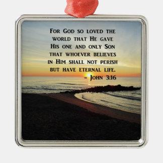 BEAUTIFUL JOHN 3:16 SCRIPTURE SUNRISE PHOTO METAL ORNAMENT