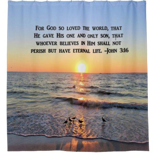 BEAUTIFUL JOHN 3:16 SHOWER CURTAIN
