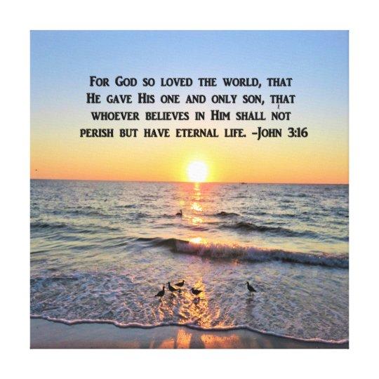 BEAUTIFUL JOHN 3:16 SUNRISE CANVAS PRINT