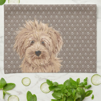 Beautiful Labradoodle Love Dog Paw Painting Beige Tea Towel