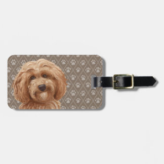 Beautiful Labradoodle Love Dog Paw Painting Print Luggage Tag