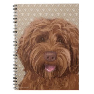 Beautiful Labradoodle Love Dog Paw Painting Print Notebooks