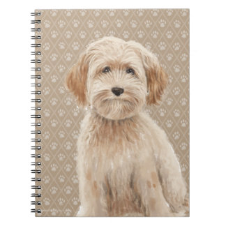 Beautiful Labradoodle Love Dog Paw Painting Print Spiral Notebook