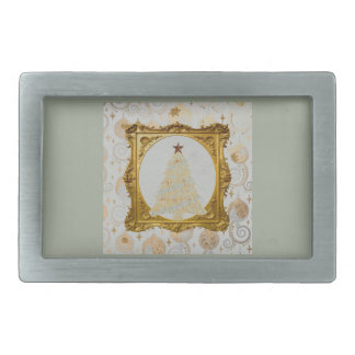 Beautiful Lace and Snowflake Tree Framed in Gold Belt Buckle