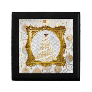 Beautiful Lace and Snowflake Tree Framed in Gold Gift Box