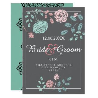 Beautiful lace customizable vintage rose wedding card