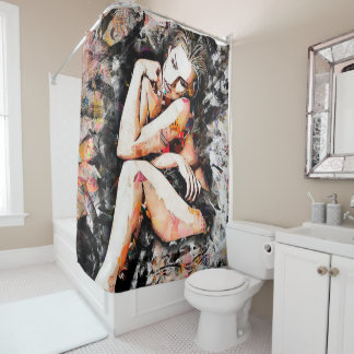 Beautiful Lady Abstract Art Shower Curtain