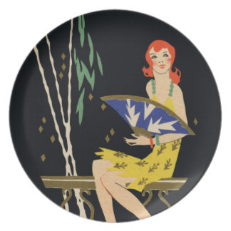 Beautiful Lady - Art Deco illustration plate