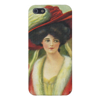 Beautiful Lady in a Big Red Hat-Vintage iPhone 5/5S Cover