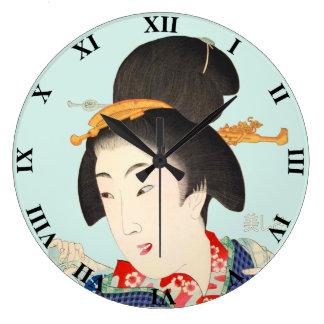 Beautiful Lady Japanese Print 5 Toyohara Chikanobu Wall Clock