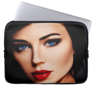 Beautiful Lady with Blue Eyes 13in Laptop Sleeve