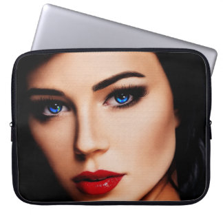 Beautiful Lady with Blue Eyes 15in Laptop Sleeve