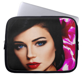 Beautiful Lady with Pink Flower 10in Laptop Sleeve