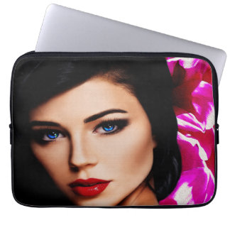 Beautiful Lady with Pink Flower 13in Laptop Sleeve