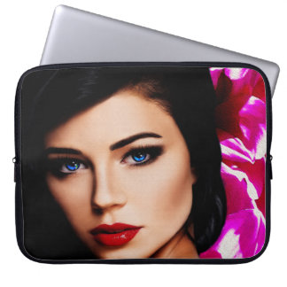 Beautiful Lady with Pink Flower 15in Laptop Sleeve