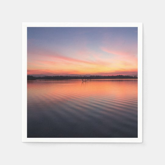 Beautiful lake at summer sunset time paper serviettes