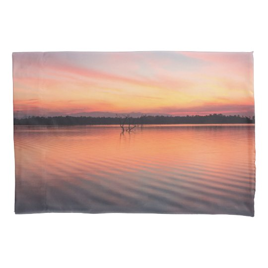 Beautiful lake at summer sunset time pillowcase