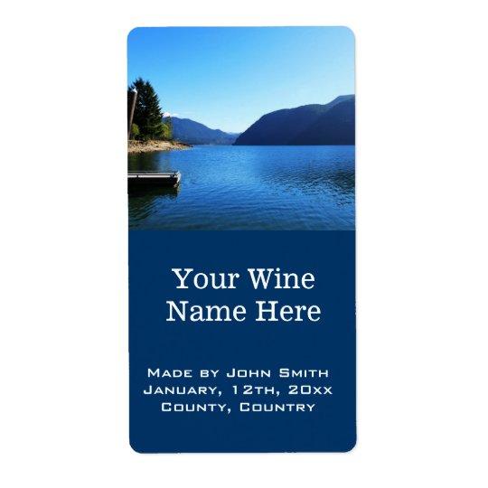 beautiful lake, mountain, blue sky wine labels. shipping label