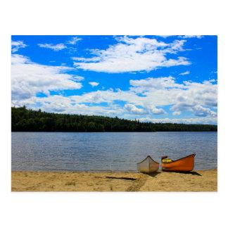 Beautiful Landscape - Canoes and Lake Postcard