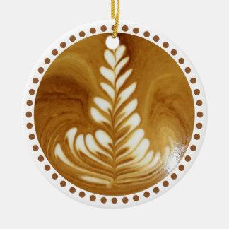Beautiful Latte Floral Leaf Art Tree Ceramic Ornament