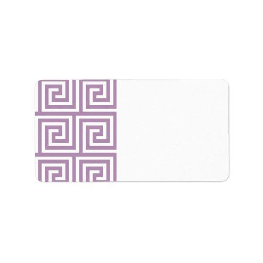Beautiful Lavender and White Greek Key Pattern Address Label