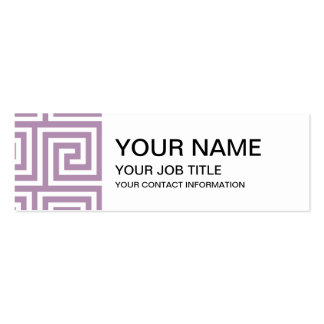 Beautiful Lavender and White Greek Key Pattern Business Card Templates