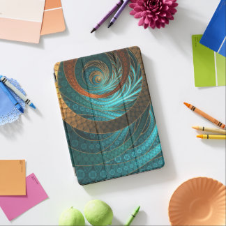 Beautiful Leather & Blue Turquoise Fractal Jewelry iPad Air Cover