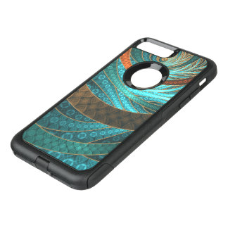 Beautiful Leather & Blue Turquoise Fractal Jewelry OtterBox Commuter iPhone 8 Plus/7 Plus Case
