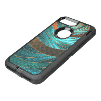 Beautiful Leather & Blue Turquoise Fractal Jewelry OtterBox Defender iPhone 8 Plus/7 Plus Case