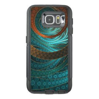 Beautiful Leather & Blue Turquoise Fractal Jewelry OtterBox Samsung Galaxy S6 Case