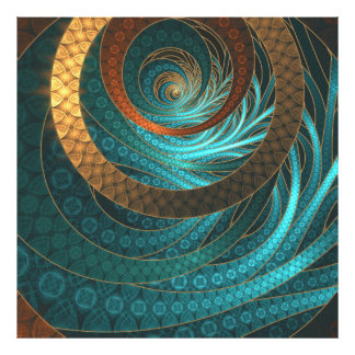 Beautiful Leather & Blue Turquoise Fractal Jewelry Photo Print