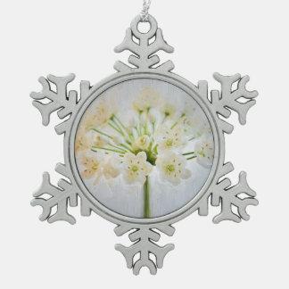 Beautiful Leek Flower Painting Pewter Snowflake Decoration