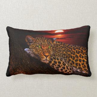 Beautiful Leopard at Sunset Lumbar Cushion