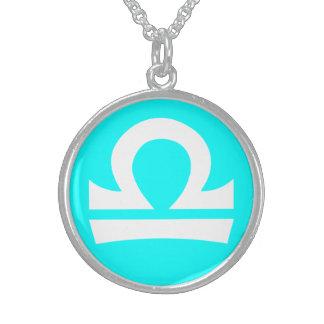 Beautiful Libra Sterling Silver Cyan Necklace