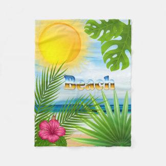 Beautiful Life is a Beach Tropical Design Fleece Blanket