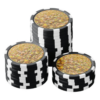 Beautiful light brown autumn leaves poker chips
