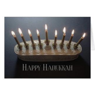 Beautiful lighted menorah Hanukkah card