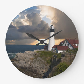 Beautiful Lighthouse Over Ocean Round Wall Clock