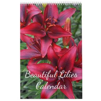 Beautiful lilies floral print wall calendar