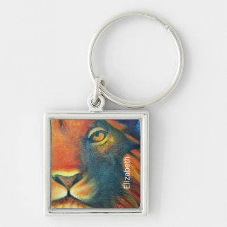 Beautiful Lion Head Portrait Regal and Proud Silver-Colored Square Key Ring