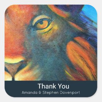 Beautiful Lion Head Portrait Regal Thank You Square Sticker
