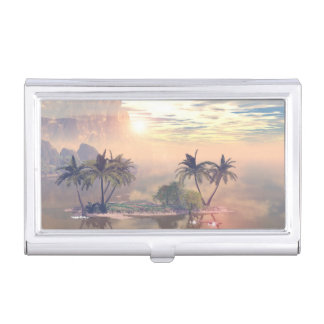 Beautiful little island in the sunset business card holder