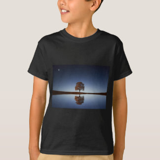 Beautiful Lone Tree Reflected in Lake at Dusk T-Shirt